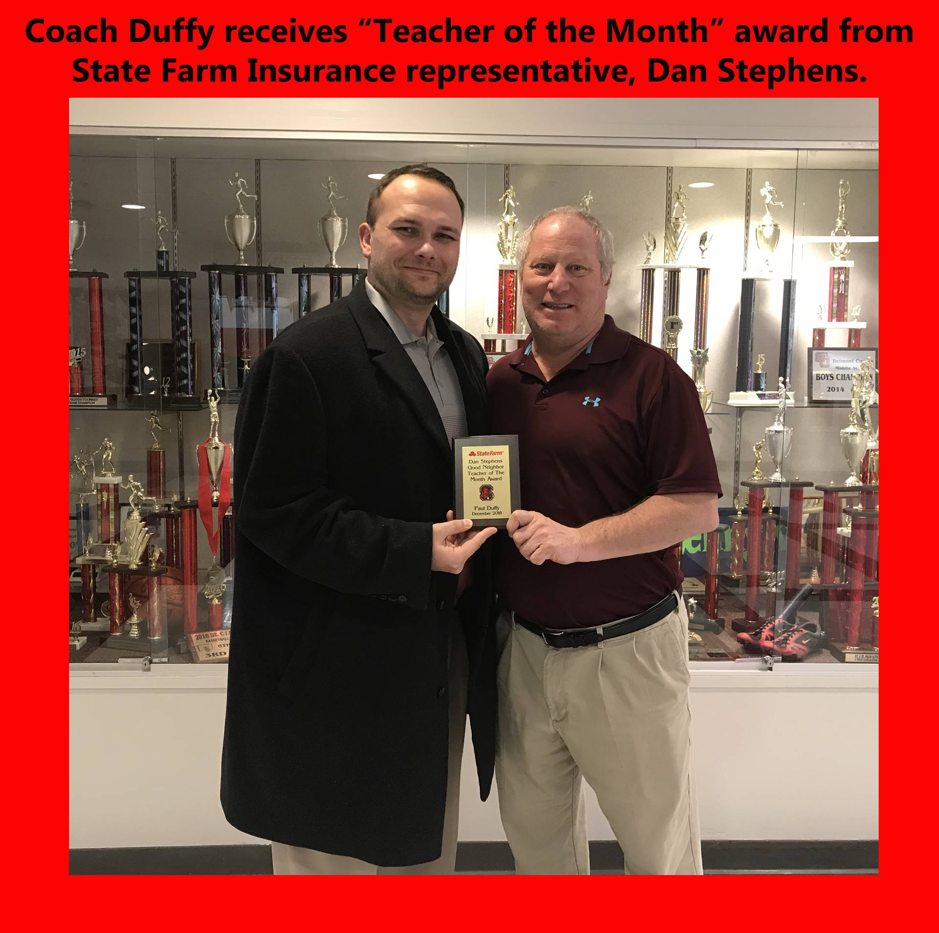 "Coach Duffy awarded ""Teacher of the Month"""
